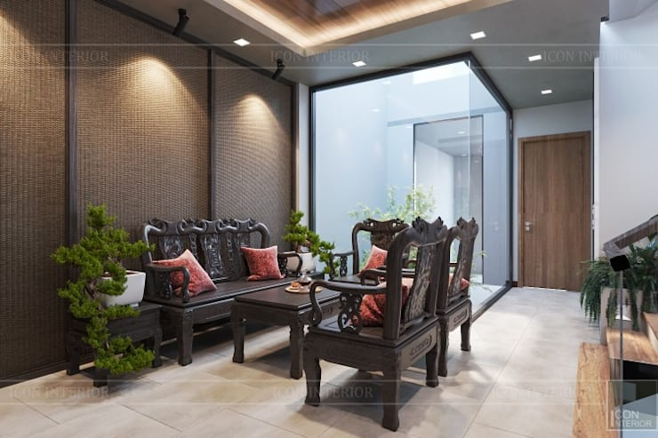 THIẾT KẾ NHÀ PHỐ MR.DONG - Mr.Dong's House in interior design:  Phòng khách by ICON INTERIOR