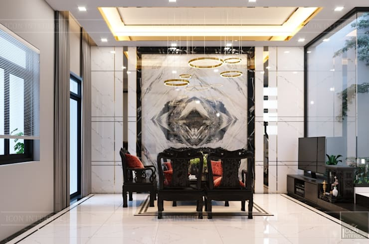 THIẾT KẾ NHÀ PHỐ MR.DONG – Mr.Dong's House in interior design:  Phòng khách by ICON INTERIOR