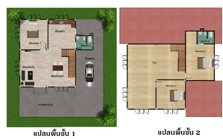 แปลนบ้าน:  บ้านและที่อยู่อาศัย by บริษัท พี นัมเบอร์วัน ดีไซน์ แอนด์ คอนสตรัคชั่น จำกัด