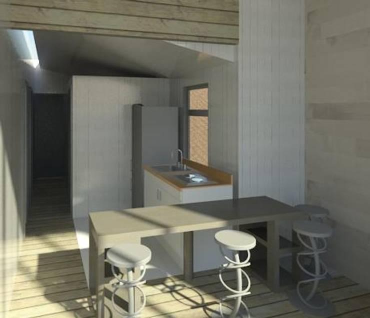 Interior casa madera minimalista:  de estilo  por Incove - Casas de madera minimalistas