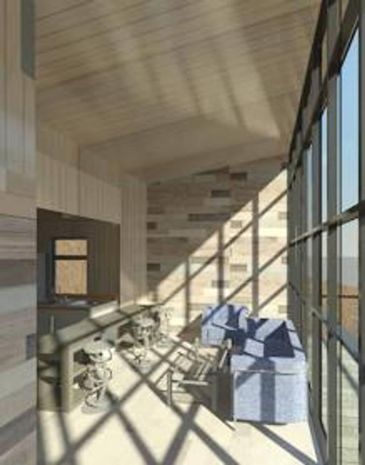 living comedor cocina americana :  de estilo  por Incove - Casas de madera minimalistas
