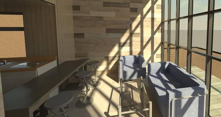 living cabaña minimalista con panel vidriado:  de estilo  por Incove - Casas de madera minimalistas