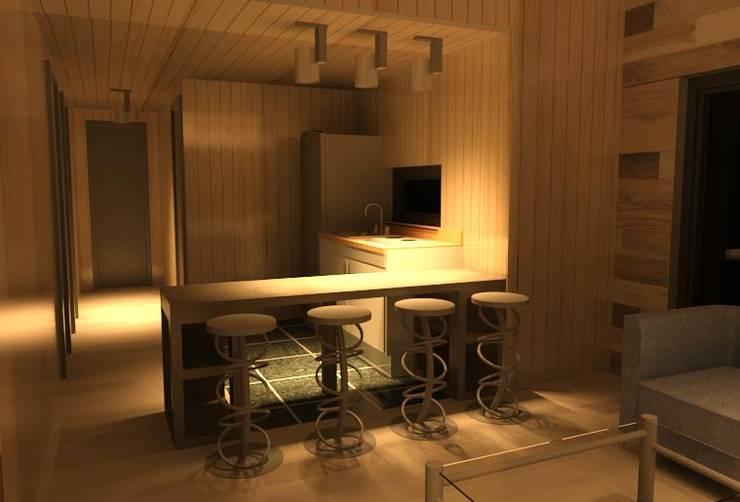 cocina americana casa minimalista:  de estilo  por Incove - Casas de madera minimalistas