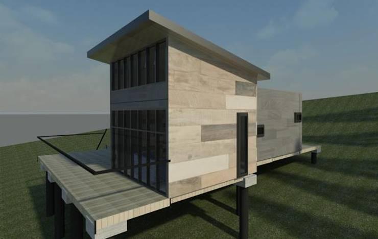 vista exterior lateral modelo 3d boceto:  de estilo  por Incove - Casas de madera minimalistas