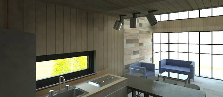 interior cocina luz día:  de estilo  por Incove - Casas de madera minimalistas