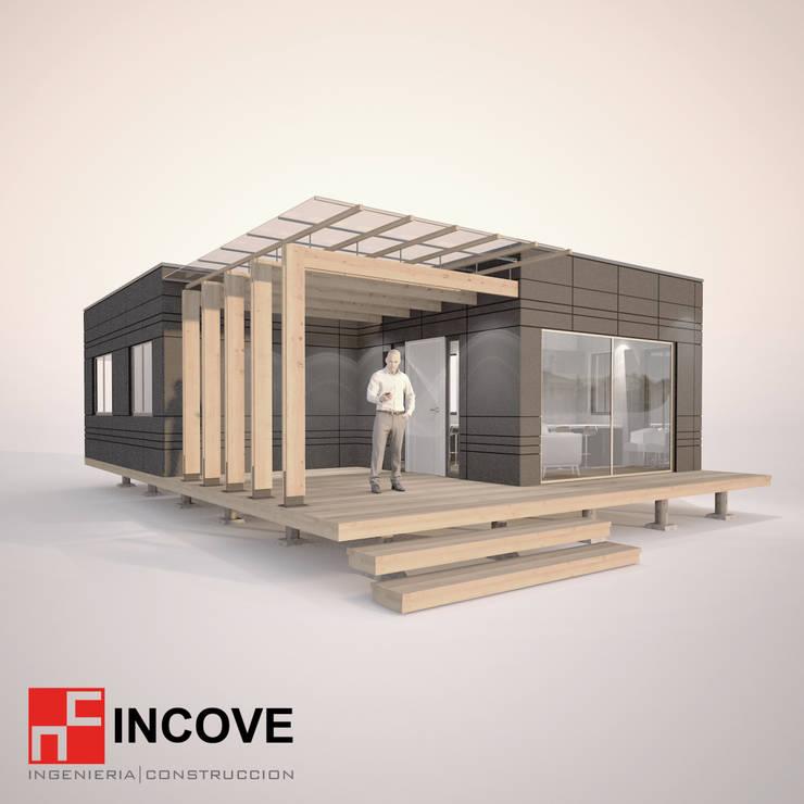Vista exterior lateral:  de estilo  por Incove - Casas de madera minimalistas
