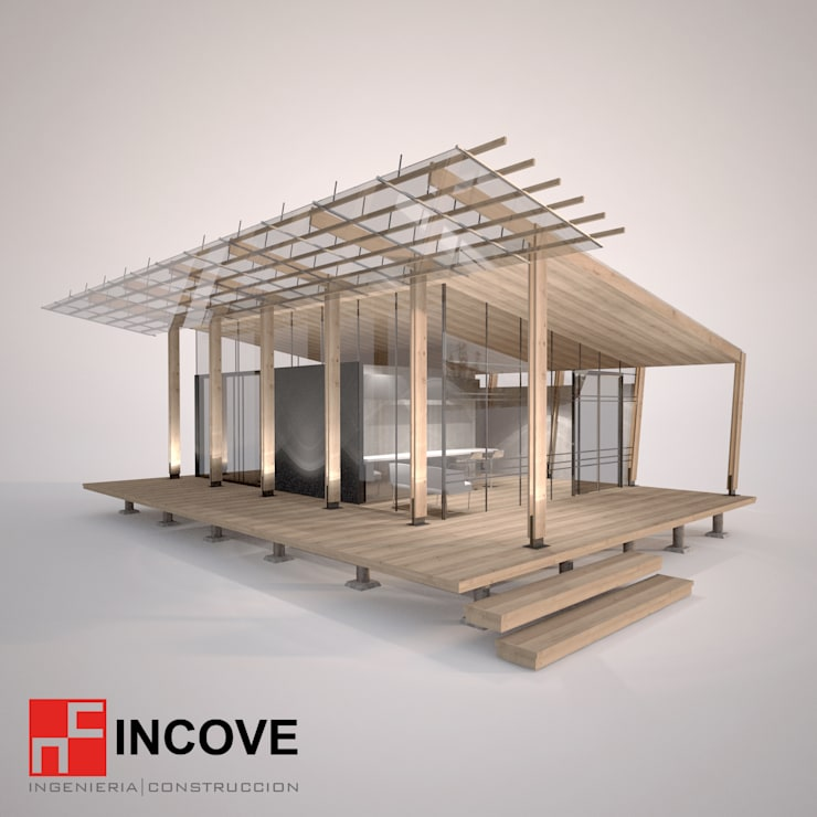 Vista exterior lateral:  de estilo  por Incove Ingeniería y Construcción