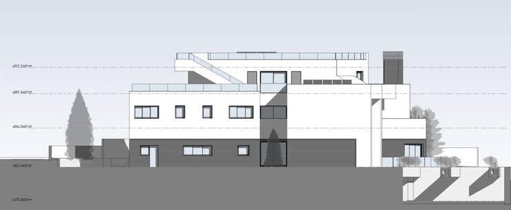 Alzado posterior: Casas unifamilares de estilo  de ARQZONE 3D+Design Studio