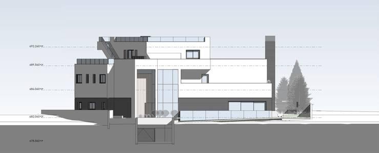 Alzado acceso: Casas unifamilares de estilo  de ARQZONE 3D+Design Studio