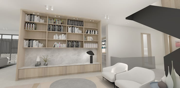 Library Lounge:  Living room by Lijn Ontwerp, Scandinavian Marble