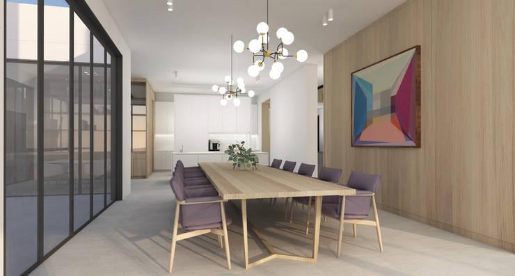 Dining Room:  Dining room by Lijn Ontwerp, Scandinavian MDF