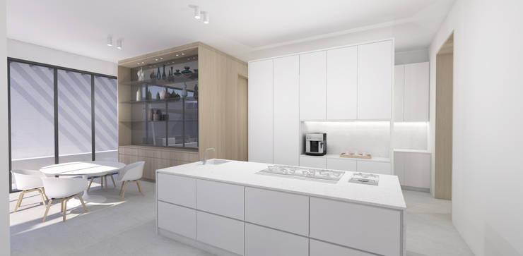 Kitchen & Breakfast Area:  Built-in kitchens by Lijn Ontwerp, Scandinavian MDF