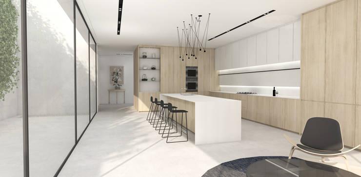 Kitchen:  Built-in kitchens by Lijn Ontwerp, Scandinavian Stone