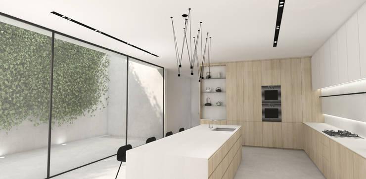 Kitchen:  Built-in kitchens by Lijn Ontwerp, Scandinavian Wood Wood effect