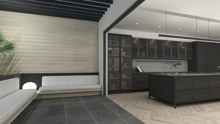 Patio:  Built-in kitchens by Lijn Ontwerp
