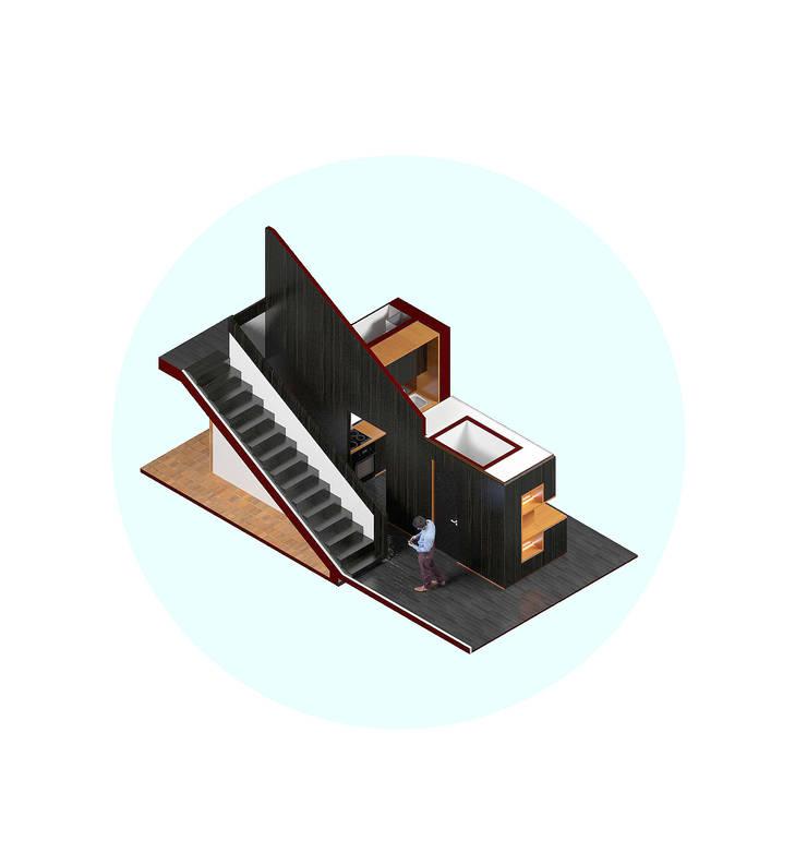 Vivienda AyP: Escaleras de estilo  por Vozza Arquitectura