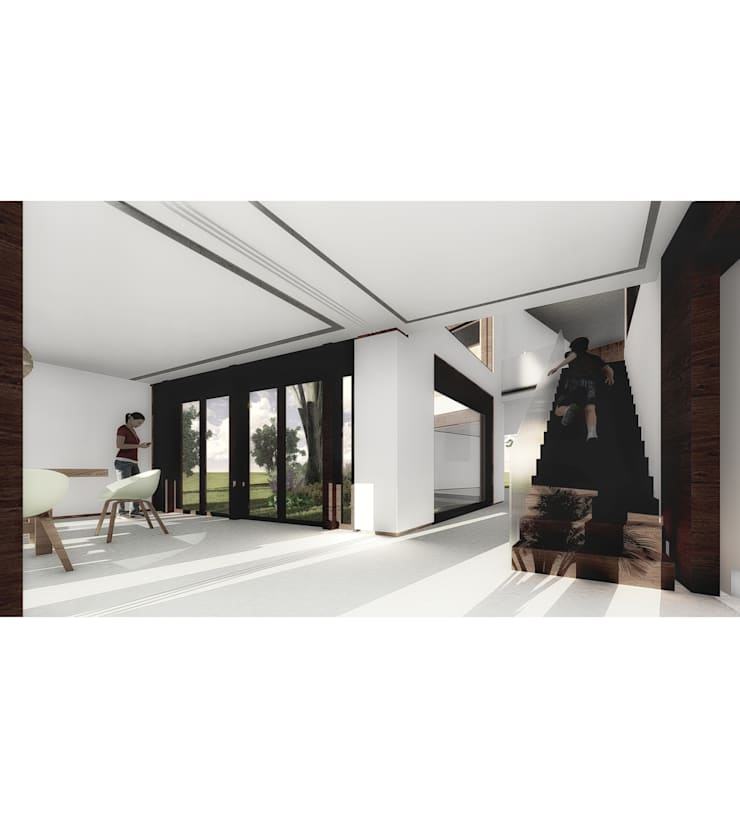 Vivienda LC: Escaleras de estilo  por Vozza Arquitectura,