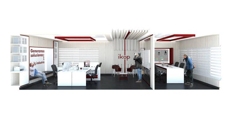 Oficinas IKOP: Estudios y oficinas de estilo  por Vozza Arquitectura,Moderno Madera Acabado en madera