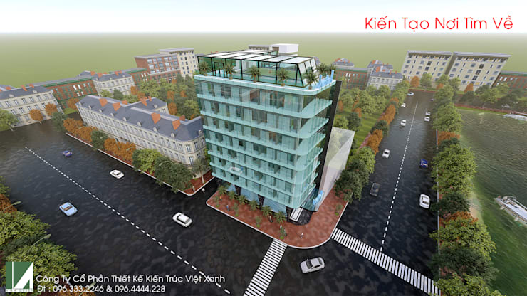 KHÁCH SẠN HIỆN ĐẠI – 8 TẦNG – HỒ SEN – LÊ CHÂN – HẢI PHÒNG.:   by công ty cổ phần Thiết kế Kiến trúc Việt Xanh