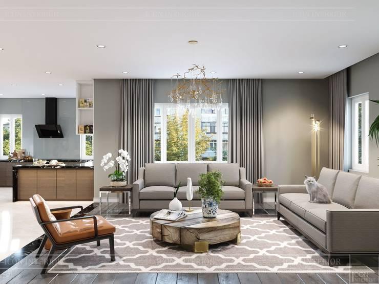 Thiết kế nội thất biệt thự hiện đại - Sang trọng đẳng cấp:  Phòng khách by ICON INTERIOR