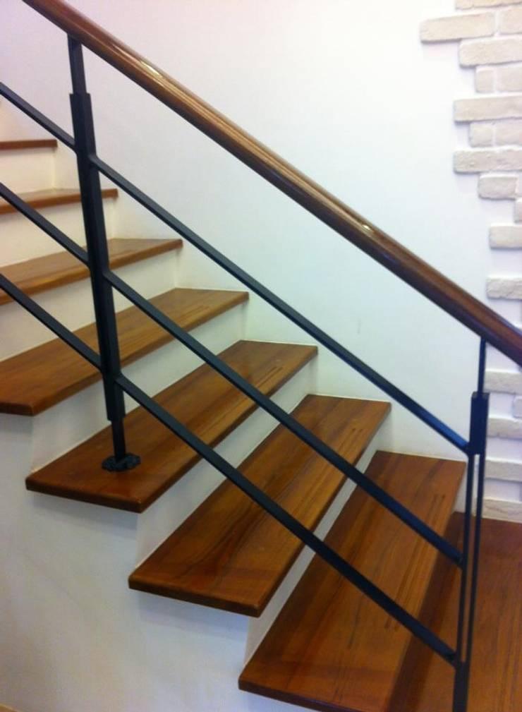 各式木質樓梯踏板:  樓梯 by 茂林樓梯扶手地板工程團隊