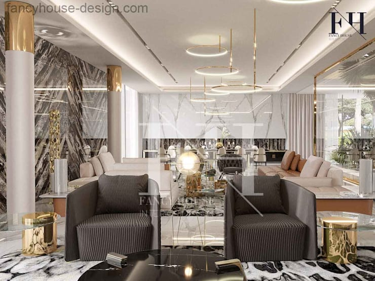 A luxury living room interior design:  Living room by Fancy House Design