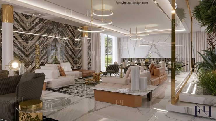 Modern villa interior design in Dubai UAE:  Living room by Fancy House Design