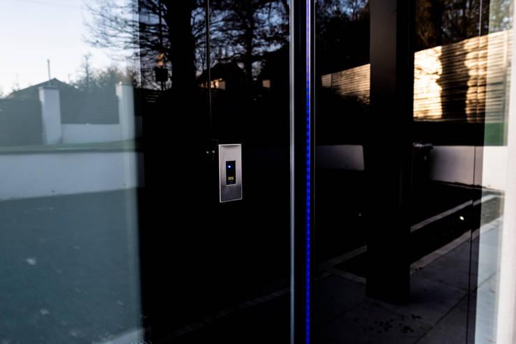 EKEY FINGER SCANNER - BLACK GLASS DOOR :  Doors by RK Door Systems,