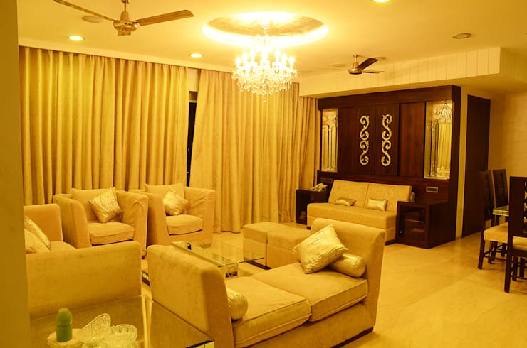 IMPERIAL TOWER, TARDEO, MUMBAI:  Living room by Aesthos Interior Design and Consultancy