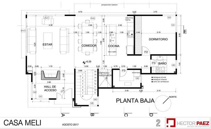 Planta baja: Casas ecológicas de estilo  por p a e z a r q u i t e c t u r a,Moderno Hierro/Acero