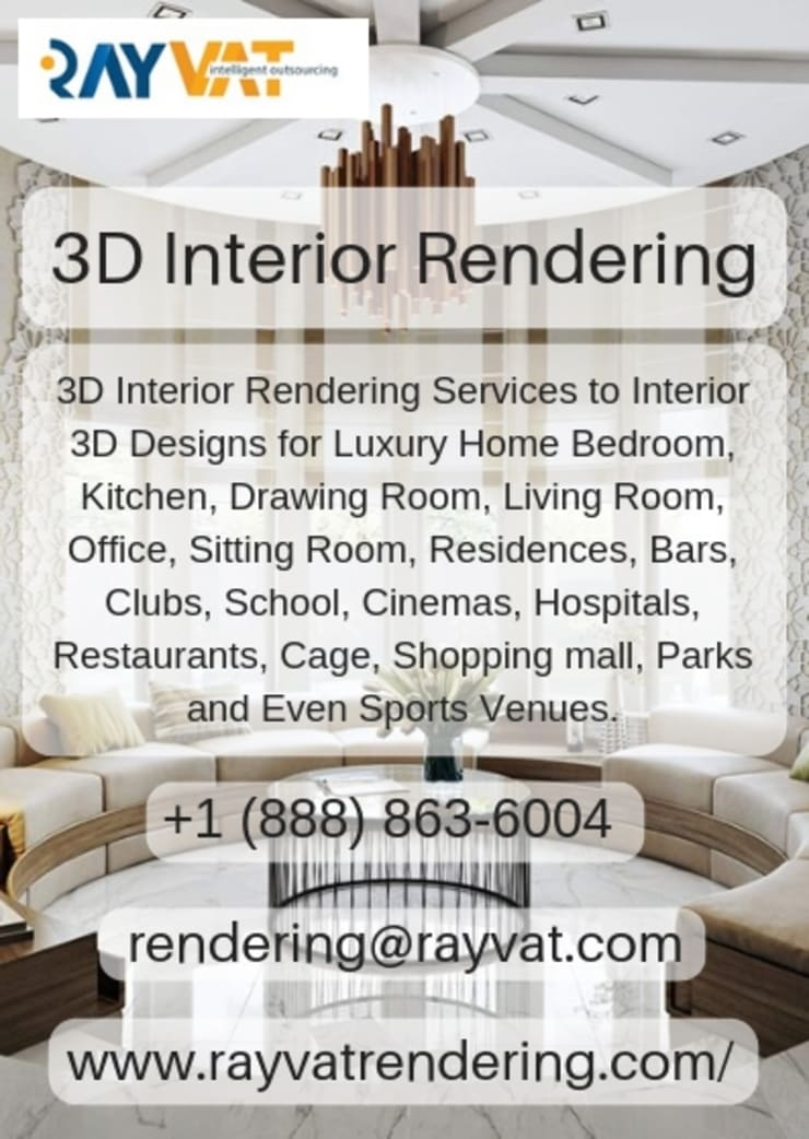 3D Interior Home Design Services:  Interior landscaping by Rayvat Rendering Studio