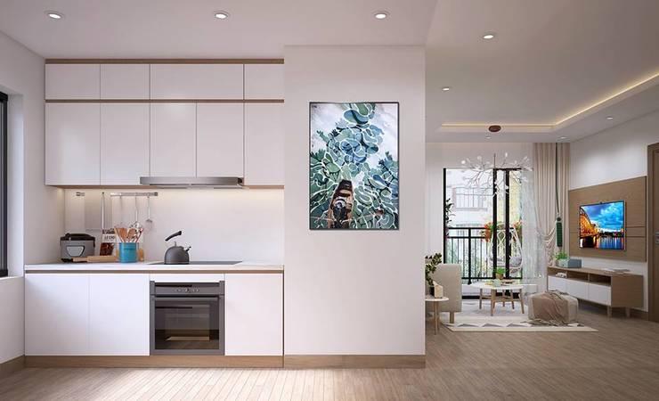 Hệ thống tủ bếp màu trắng khá sạch sẽ:  Nhà bếp by Công ty TNHH Nội Thất Mạnh Hệ