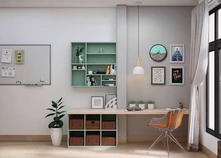 Bàn làm việc cùng kệ sách nhỏ trong phòng ngủ master:  Phòng ngủ by Công ty TNHH Nội Thất Mạnh Hệ