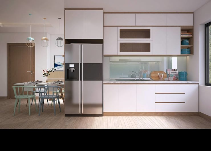 Không gian phòng bếp khá rộng rãi và thoáng đãng:  Nhà bếp by Công ty TNHH Nội Thất Mạnh Hệ