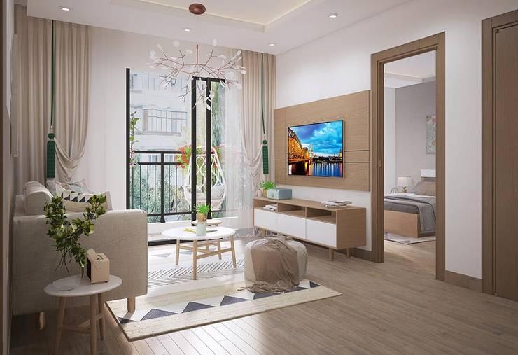 Nội thất phòng khách hiện đại:  Phòng khách by Công ty TNHH Nội Thất Mạnh Hệ