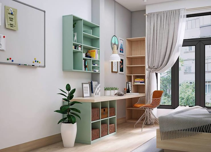 Bàn làm việc cùng hệ thống tủ sách màu xanh:  Phòng ngủ by Công ty TNHH Nội Thất Mạnh Hệ