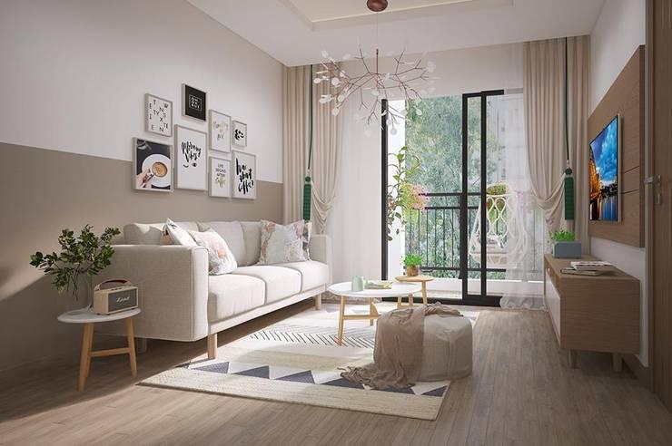 Không gian phòng khách khá thoáng đãng:  Phòng khách by Công ty TNHH Nội Thất Mạnh Hệ