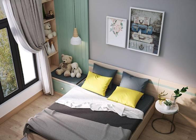Giường ngủ được bố trí khá đơn giản:  Phòng ngủ by Công ty TNHH Nội Thất Mạnh Hệ