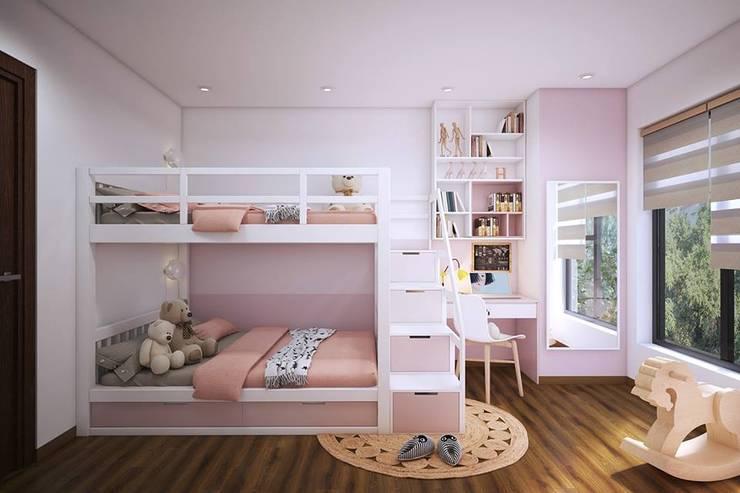 Phòng ngủ nhỏ được bố trí giường tầng để tiết kiệm diện tích:  Phòng ngủ by Công ty TNHH Nội Thất Mạnh Hệ