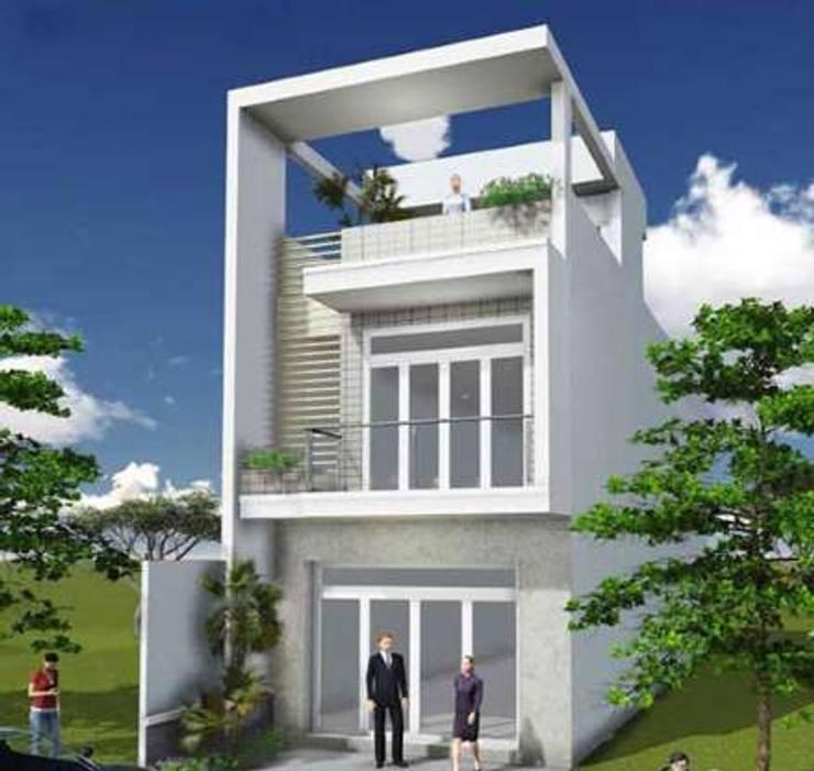 KTS tư vấn thiết kế nhà ống 2 tầng 1 tum hiện đại và tiện nghi:   by Kiến Trúc Xây Dựng Incocons