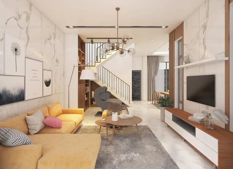 Tổng thể không gian phòng khách sang trọng:  Phòng khách by Công ty TNHH Nội Thất Mạnh Hệ
