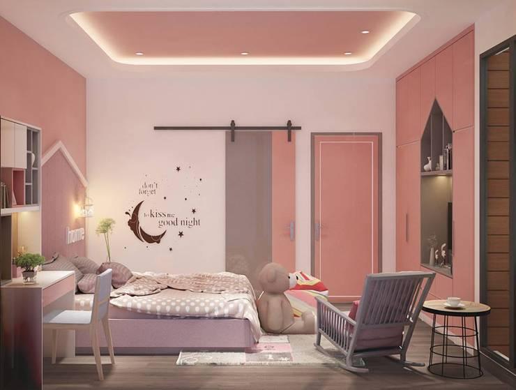 Phòng ngủ con gái màu hồng:  Phòng ngủ by Công ty TNHH Nội Thất Mạnh Hệ