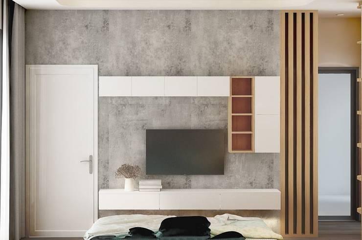 Kệ tủ tivi trong phòng khách:  Phòng ngủ by Công ty TNHH Nội Thất Mạnh Hệ