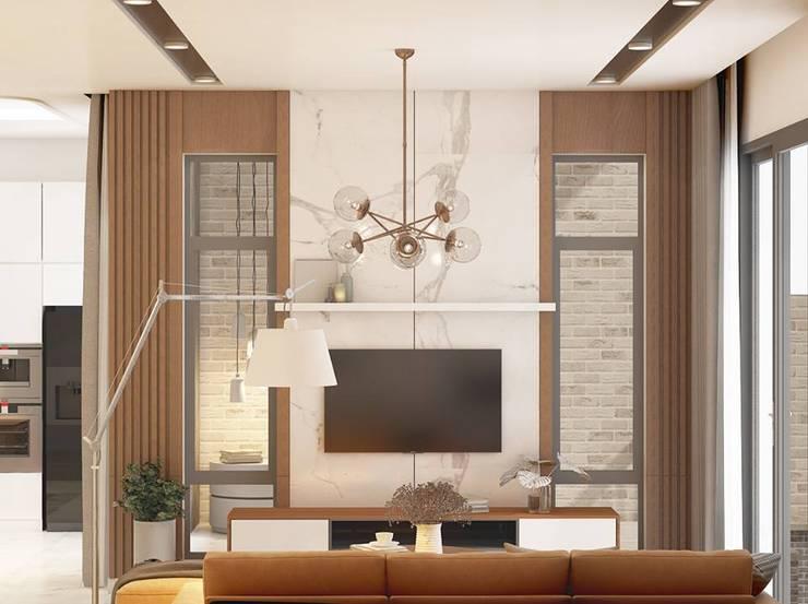 nội thất phòng khách sang trọng:  Phòng khách by Công ty TNHH Nội Thất Mạnh Hệ