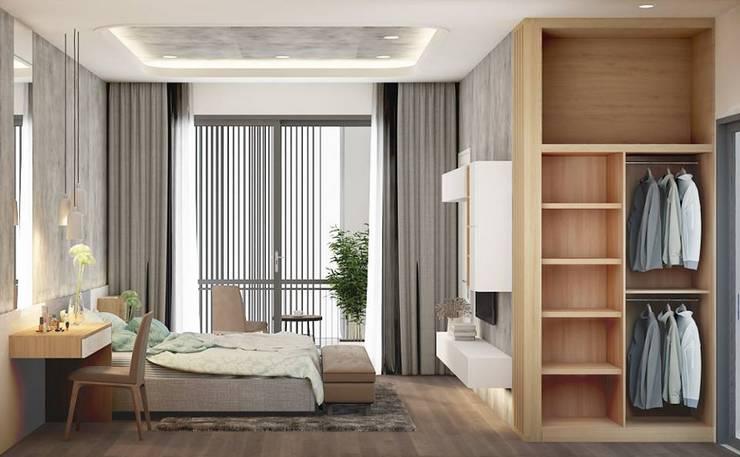 Không gian phòng ngủ master rộng rãi và thoáng đãng:  Phòng ngủ by Công ty TNHH Nội Thất Mạnh Hệ
