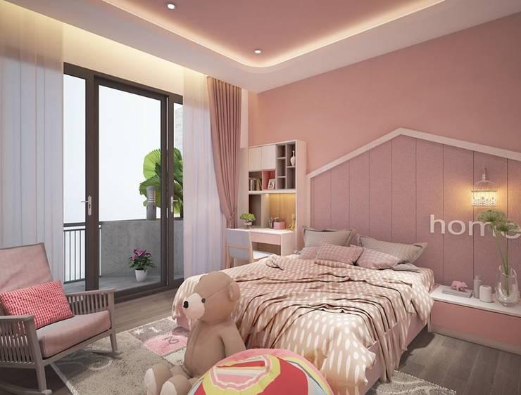 Phòng ngủ cho bé gái màu hồng khá dễ thương:  Phòng ngủ by Công ty TNHH Nội Thất Mạnh Hệ