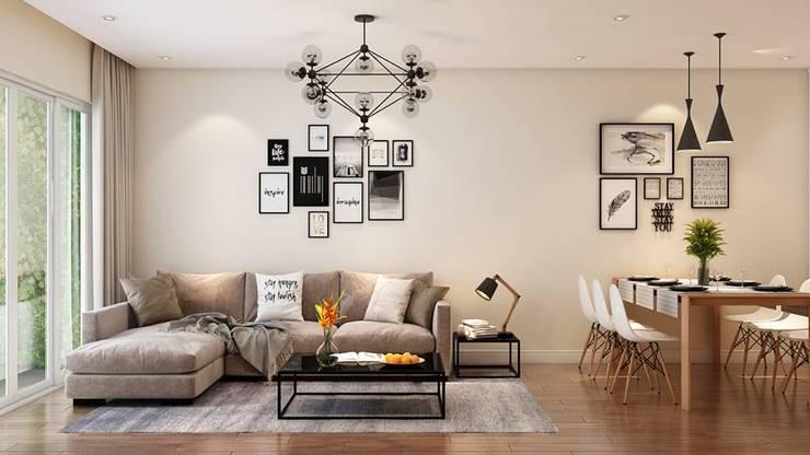 Bộ ghế sofa nệm phòng khách khá snag trọng và hiện đại:  Phòng khách by Công ty TNHH Nội Thất Mạnh Hệ