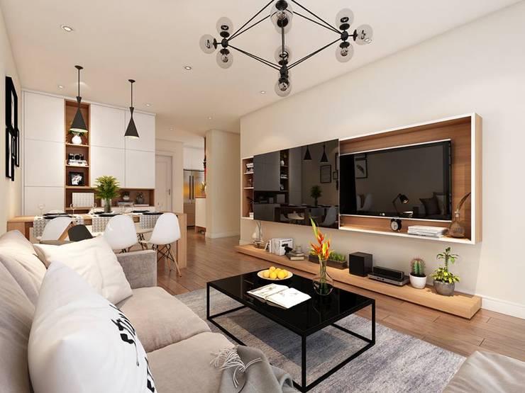 Nội thất phòng khách khá đầy đủ trang thiết bị  nội thất:  Phòng khách by Công ty TNHH Nội Thất Mạnh Hệ
