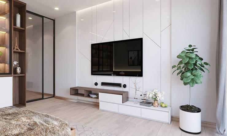 Kệ tivi trong không gian phòng ngủ master:  Phòng ngủ by Công ty TNHH Nội Thất Mạnh Hệ