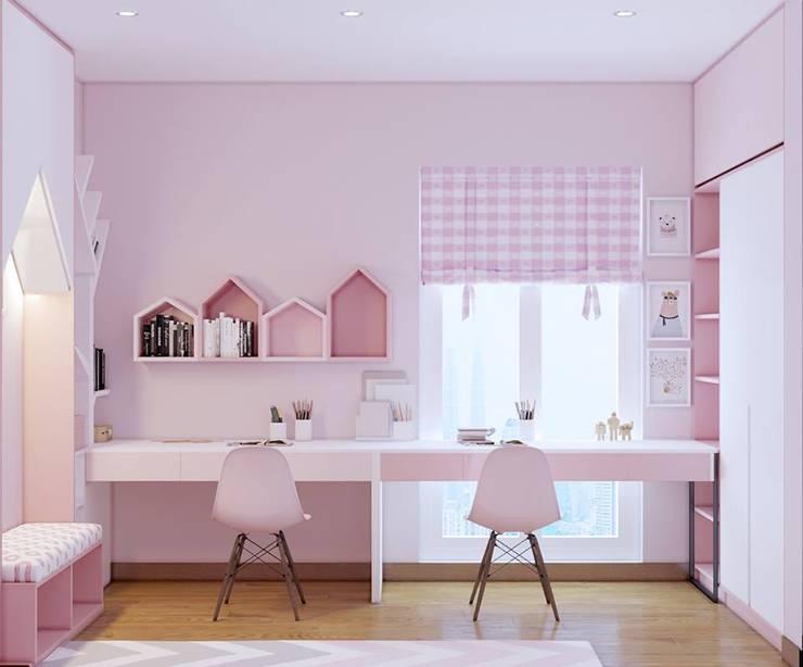 Không gian học tập trong phòng ngủ nhỏ:  Phòng ngủ by Công ty TNHH Nội Thất Mạnh Hệ